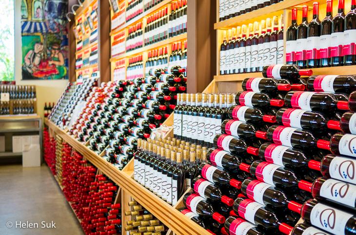 shelves of wine bottles at luckett vineyards winery nova scotia