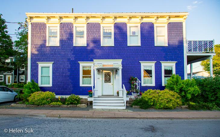 bright purple colonial building in pictou nova scotia