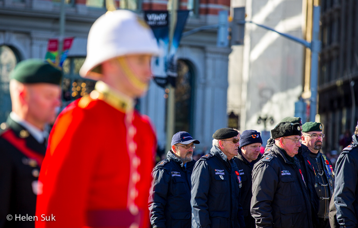 veterans marching at the national ceremony of remembrance in ottawa