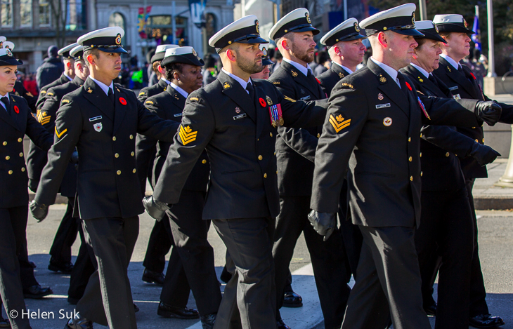 service men and women marching in the parade on remembrance day in ottawa