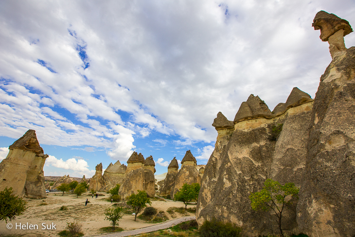 mushroom-like rock formations in pasabag cappadocia