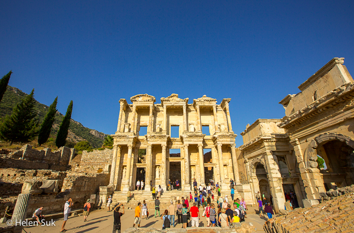 towering facade of celsus library in the ancient city of ephesus turkey