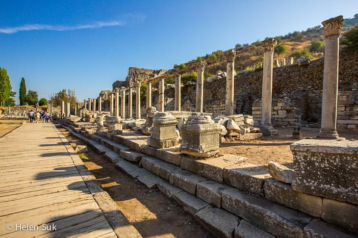 columns line marble road in ephesus turkey