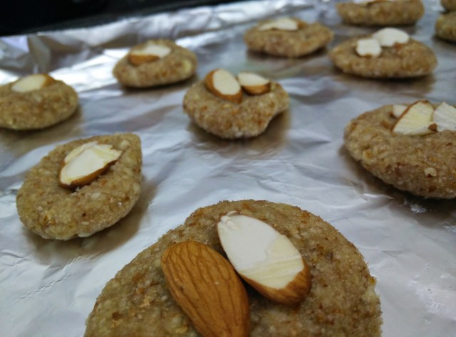 Ready to be baked: almond macroons