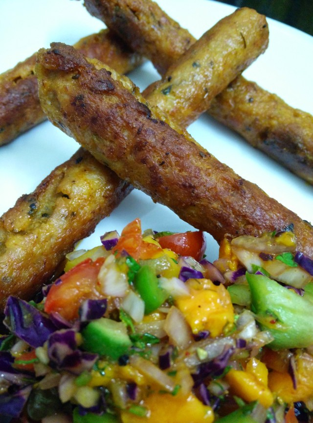 I served my mango salsa with chicken kebabs...made for a splendid combination