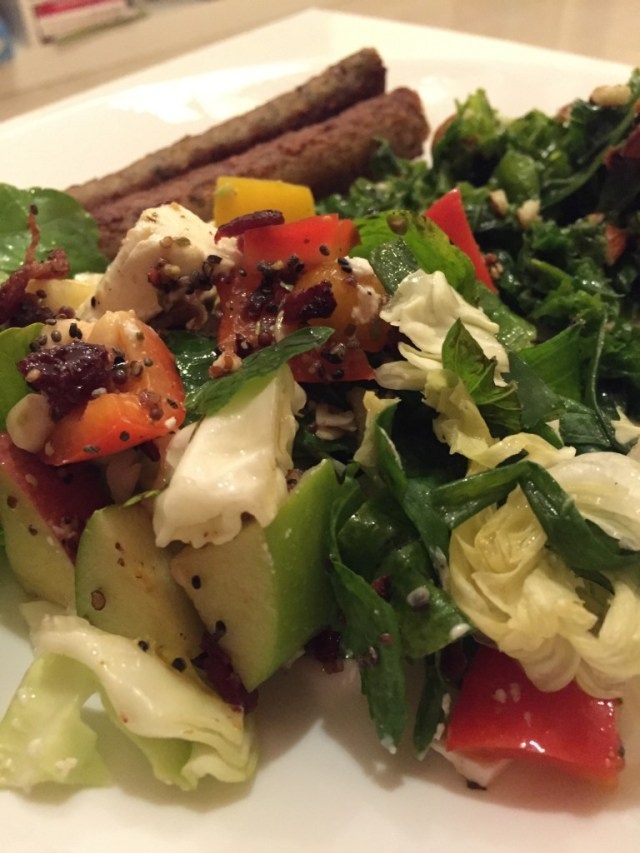 Feta and apple tossed salad served with kebabs