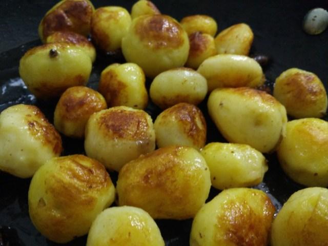 Cook the potatoes till golden,