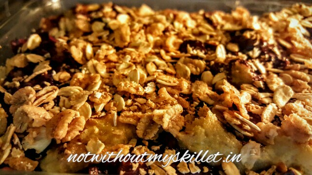 I've added muesli for the crunch and grilled it just for 2 minutes to get that lovely crust.