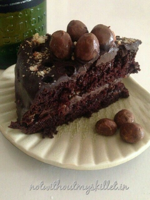 You could flambe this cake with some more vodka or chocolate liqueur too!
