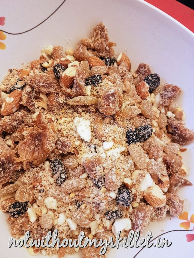 The dry fruit needs to be pulverised such that it still has a bite on it!