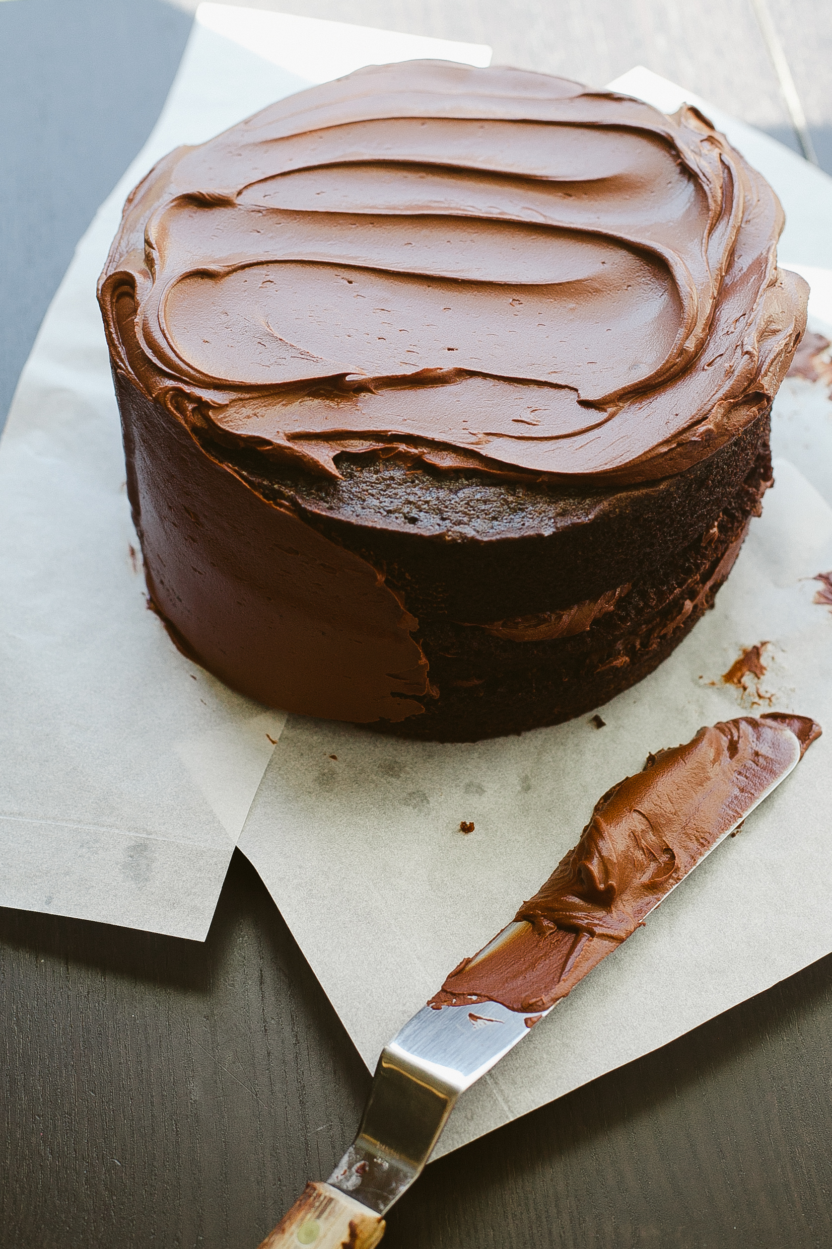 Chocolate Cake with Bittersweet Sour Cream Frosting - Not Without Salt
