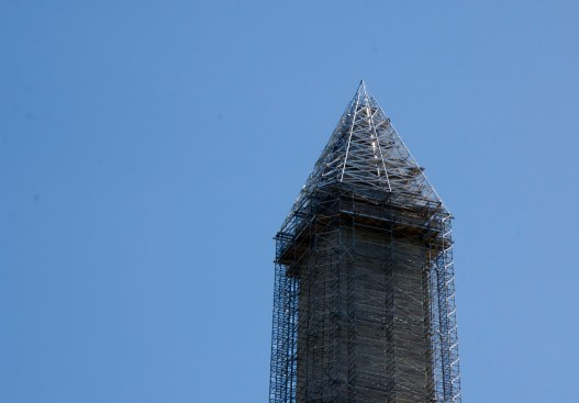The Washington Monument , with scaffolding