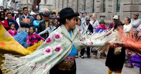 Dancing for tourists in Quito, Ecuador