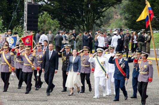 The entrance of the official party including Vice President Jorge Glas and Minister of Defense María Fernanda Espinosa.