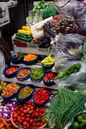 Not just peppers, but blue corn, a special variety of extra fragant garlic, figs, thin green onions, and more.