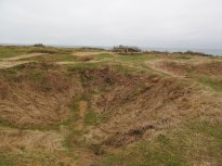 Craters left behind at Pointe du Hoc - the site of German occupation and the confrontation of 250 American Rangers who scaled the cliffs for a surprise attack.