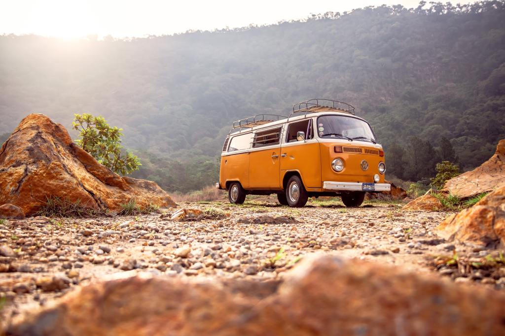 van parked in a canyon