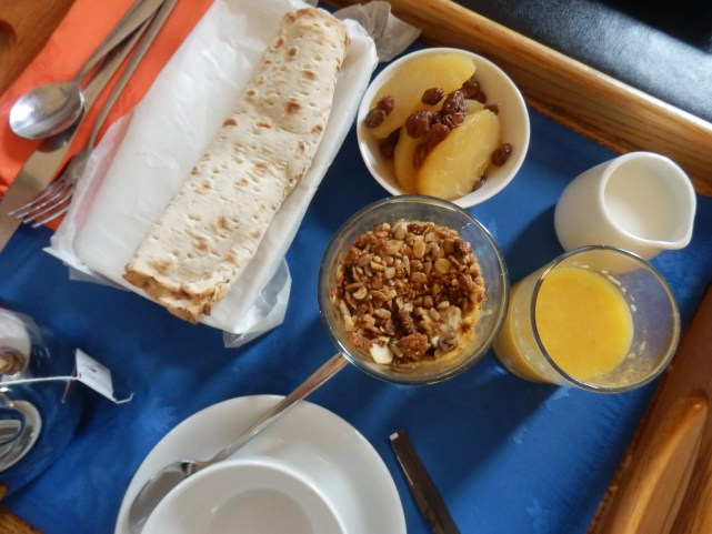 Carefully chosen - Mango Parfait, Cheese, tomato and bacon wrap and compote - all highly recommended