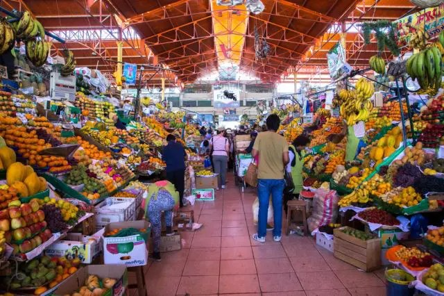 Fruit market full of South American fruits
