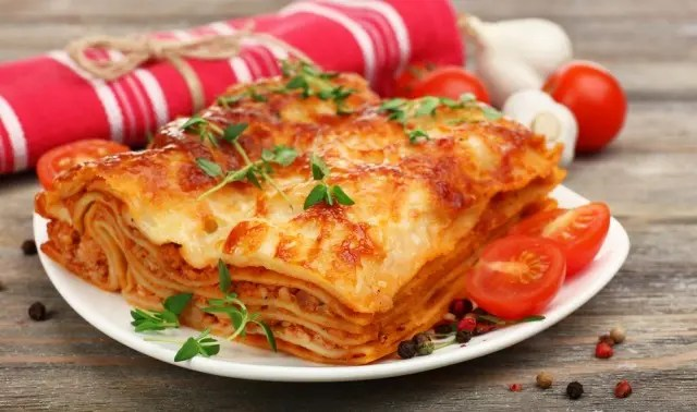 Vegetarian lasagne on a white plate