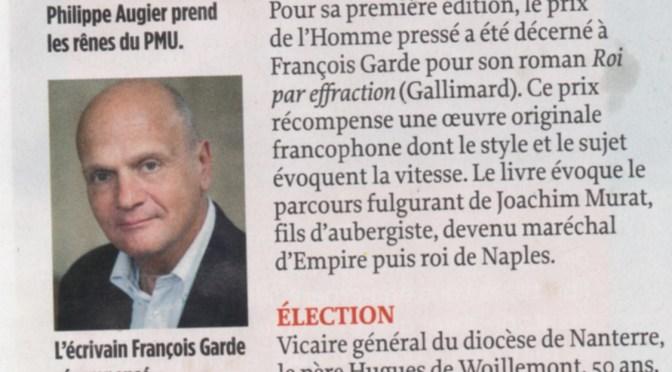 NOUVEAU PRIX LITTÉRAIRE POUR FRANÇOIS GARDE