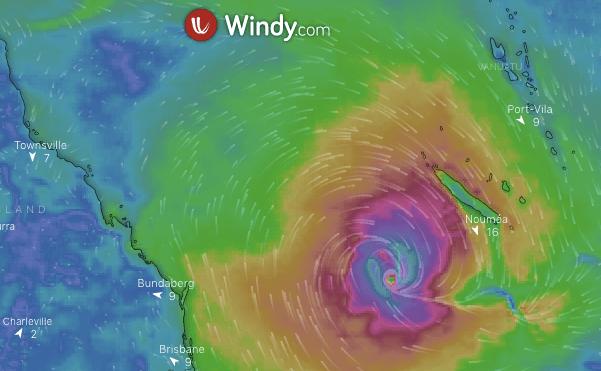 UNE DÉPRESSION AU SUD-OUEST DE NOUMÉA DIMANCHE PROCHAIN selon Windy