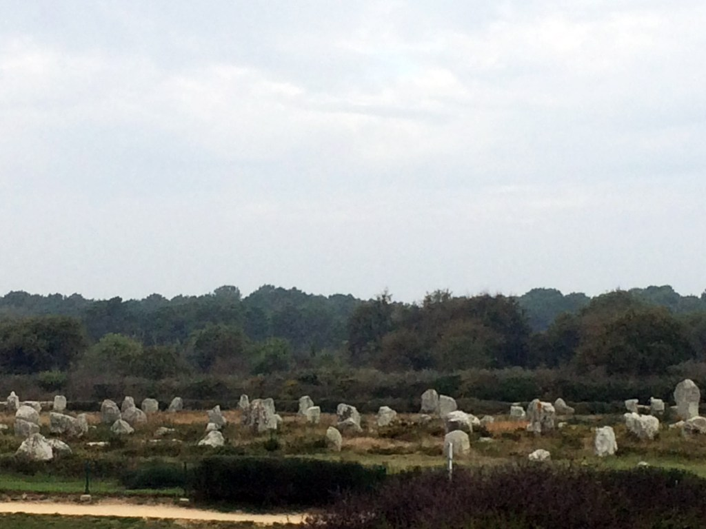 carnac standing stones in a field in France