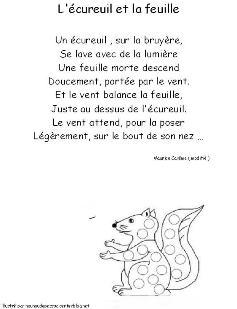 Poésie L écureuil Et La Feuille : poésie, écureuil, feuille, Maurice, Carême.