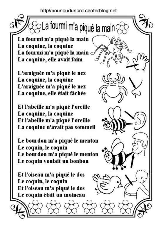 La Fourmie M'a Pique La Main : fourmie, pique, Comptine, Colorier, FOURMI, PIQUE, MAIN*