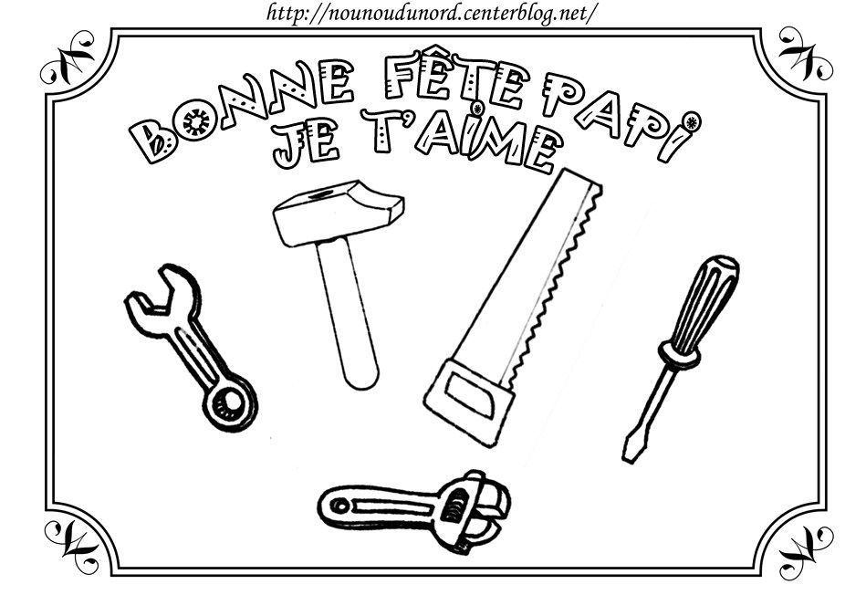 Coloriage bonne fête papi avec outils