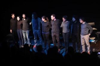 Cast of Readings from Syria Speaks. Left to right: Joao Smart, Emily Churchill Zaraa, Zaher Omareen, Basel Zaraa, Taghrid Choucair-Vizoso, Robin Yassin-Kassab, Läila Alj, Kareem Samara and Golan Haji