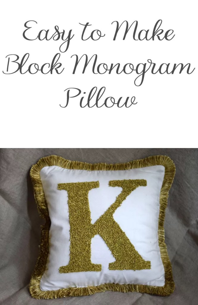 Instructions to make a DIY monogram letter pillow using french knots and a simple outline stitch. Perfect for your home decor or gifting.