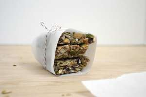 An easy recipe for for a healthy snack that is also gluten free. These Chewy, Crunchy Seed and Fruit Bars are a great, no-guilt snack.