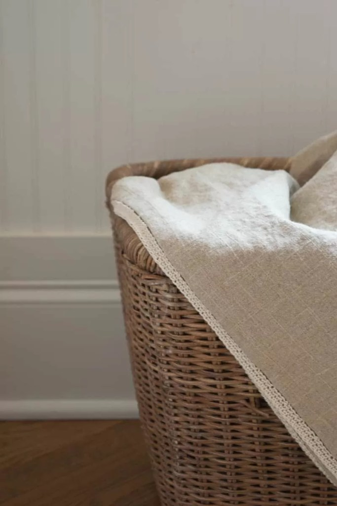 DIY linen throw, sew mitre-edge and add crochet trim to finish. Perfect for spring, summer and gift giving.