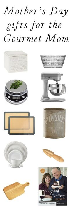 Are you looking for gift ideas for Mother's Day? Here are some great ideas for the Gourmet mom! And I've teamed up with some of my friends to gather Mother's Day gift list ideas for all different types of moms: the busy mom, the heath-conscious mom, the DIY mom, the fashion-loving mom, the jewelry-loving mom and the gardening mom.