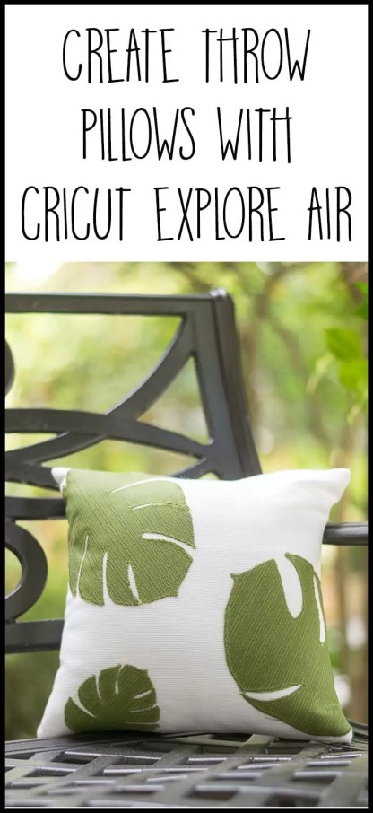 Love these throw pillows! Use a Cricut to cut the tropical leaf shapes and then just sew them on a white pillow cover. Use outdoor fabric for spring and summer porch decor or regular fabric for your home decor. #cricutmade @officialcricut (sponsored by Cricut)