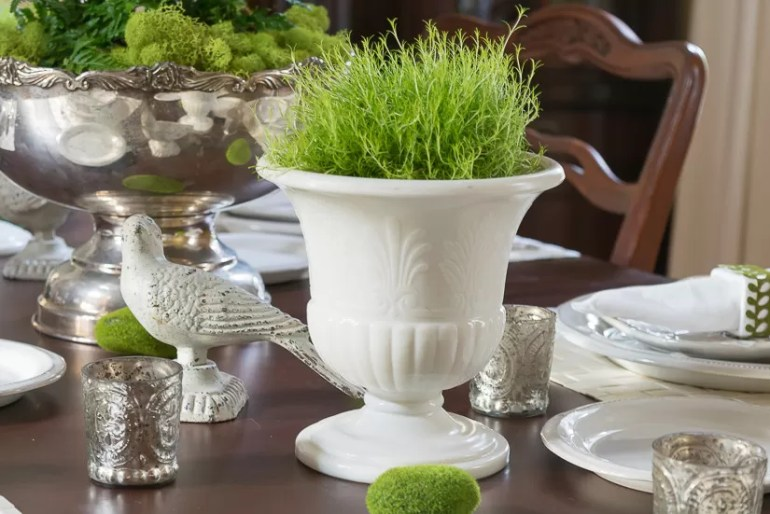 Scotch Moss in Milk Glass Urns