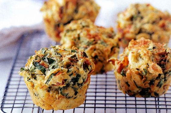Egg Muffins with Spinach, Kale, Roasted Capsicum & Feta
