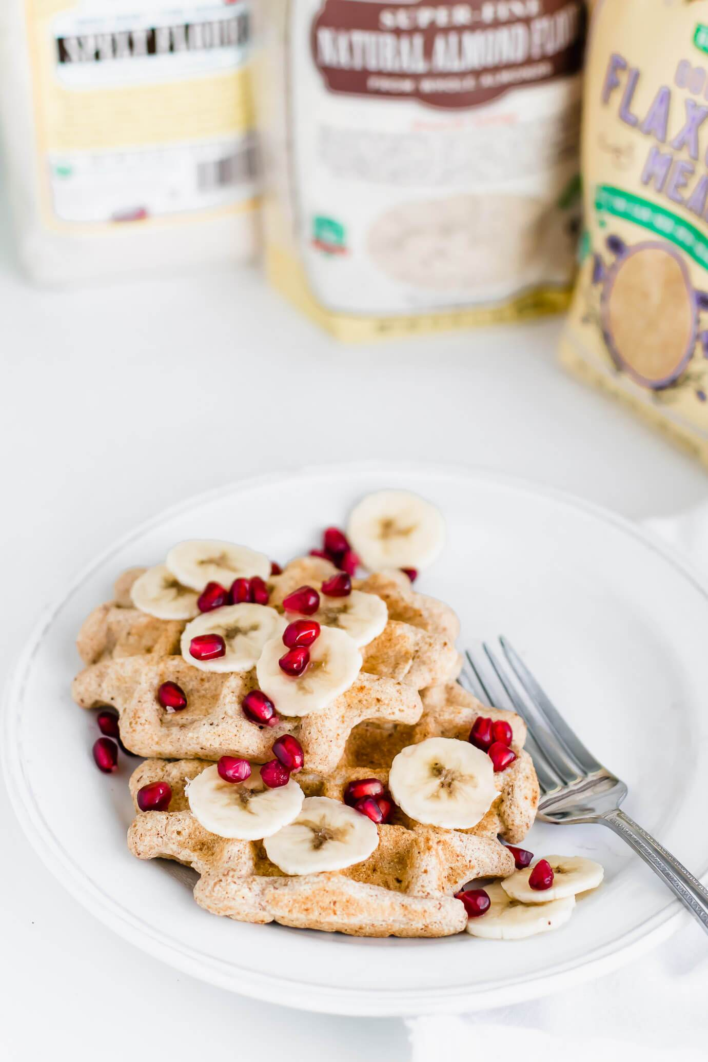 Light and crispy vegan waffles made with a combination of spelt flour, almond flour, and ground flax meal. Lightly sweetened with just a touch date sugar or coconut sugar.