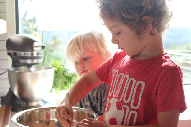 Boys Stirring Muffins. Helping in the kitchen.