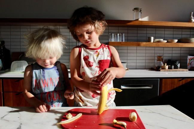 Kids Peeling and Cutting Banana