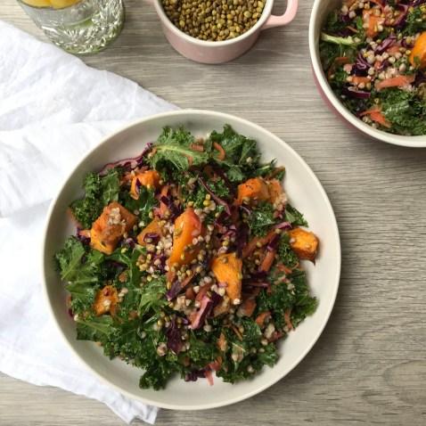 Roasted Squash and Kale Slaw Salad w/ Buckwheat and Lemon Miso Dressing