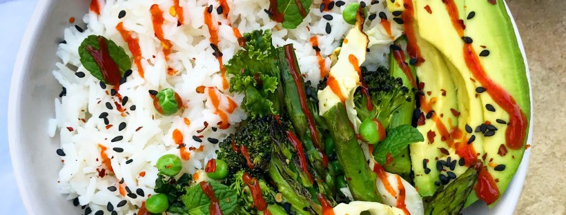 Coconut Rice w/ Greens and Spicy Sesame Sauce
