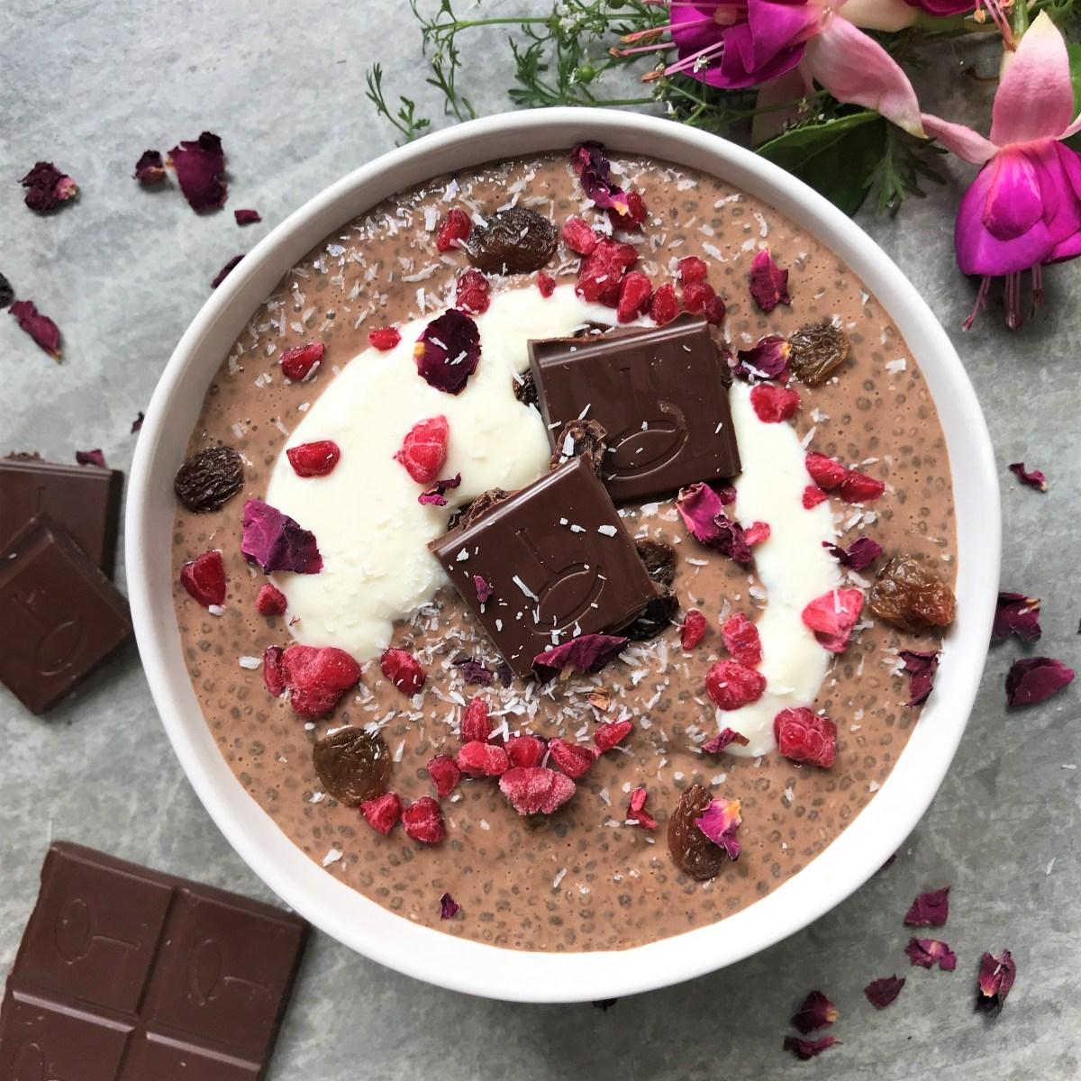 Chocolate Cinnamon and Raisin Chia Pudding