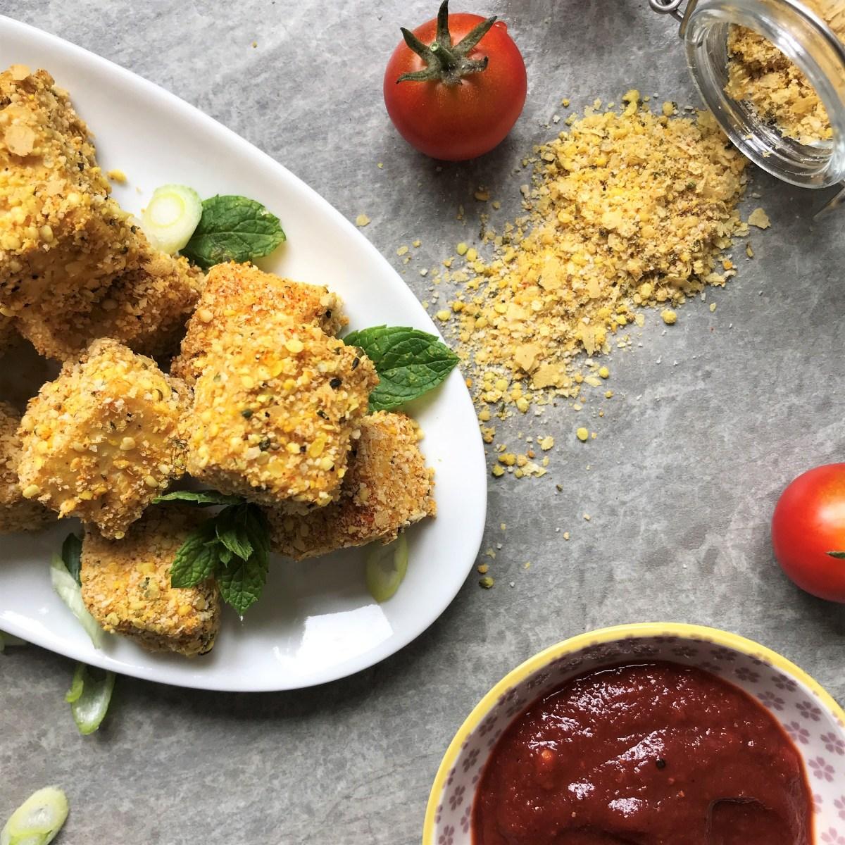 Vegan Tofu Nuggets with Spicy Tomato Sauce