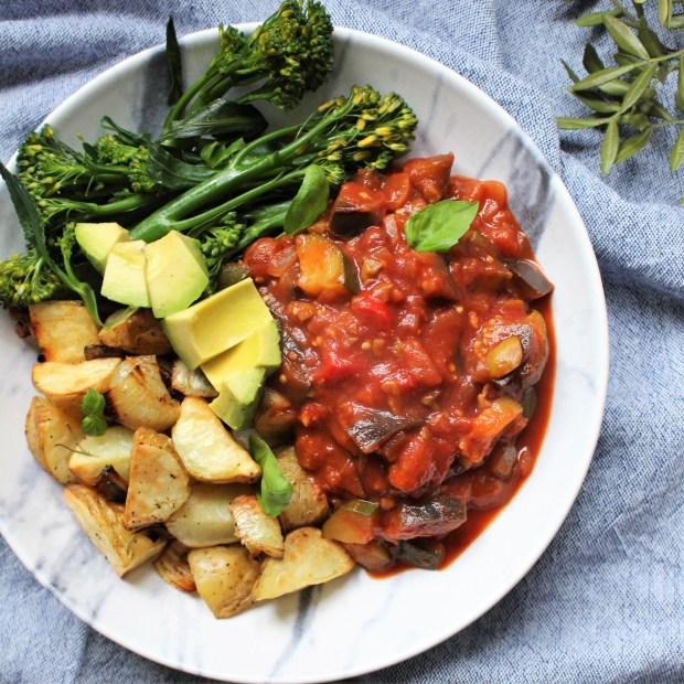 Sicilian Caponata with Rosemary Roasted New Potatoes