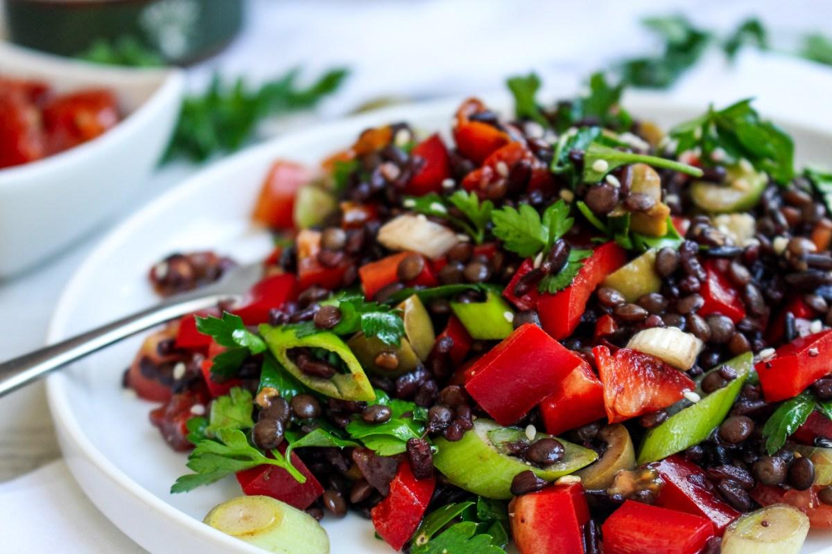 Black Rice and Lentil Mediterranean Salad