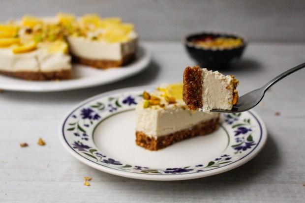 Raw Lemon and Pistachio Cheesecake