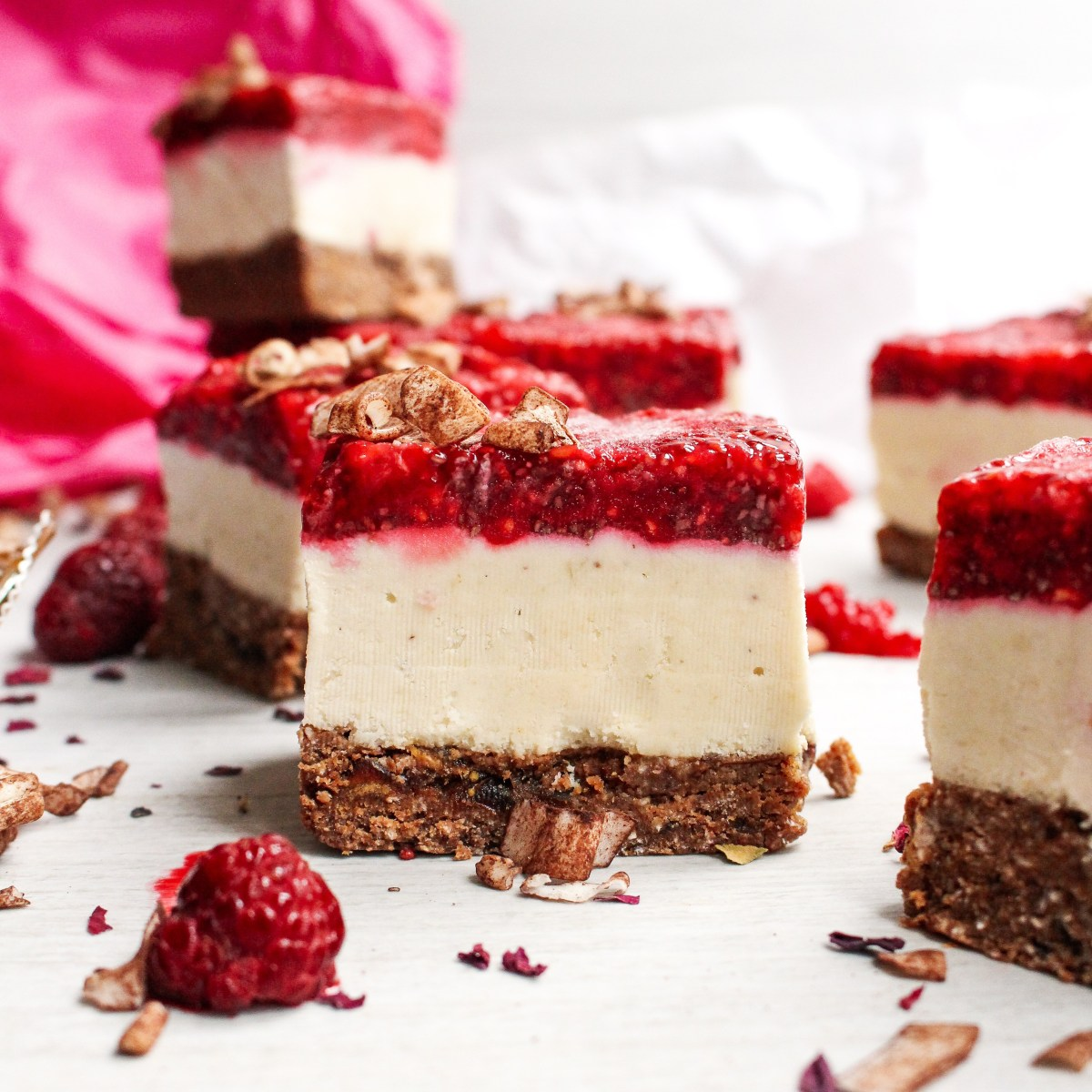 Chocolate Coconut Raspberry Cheesecake Slices