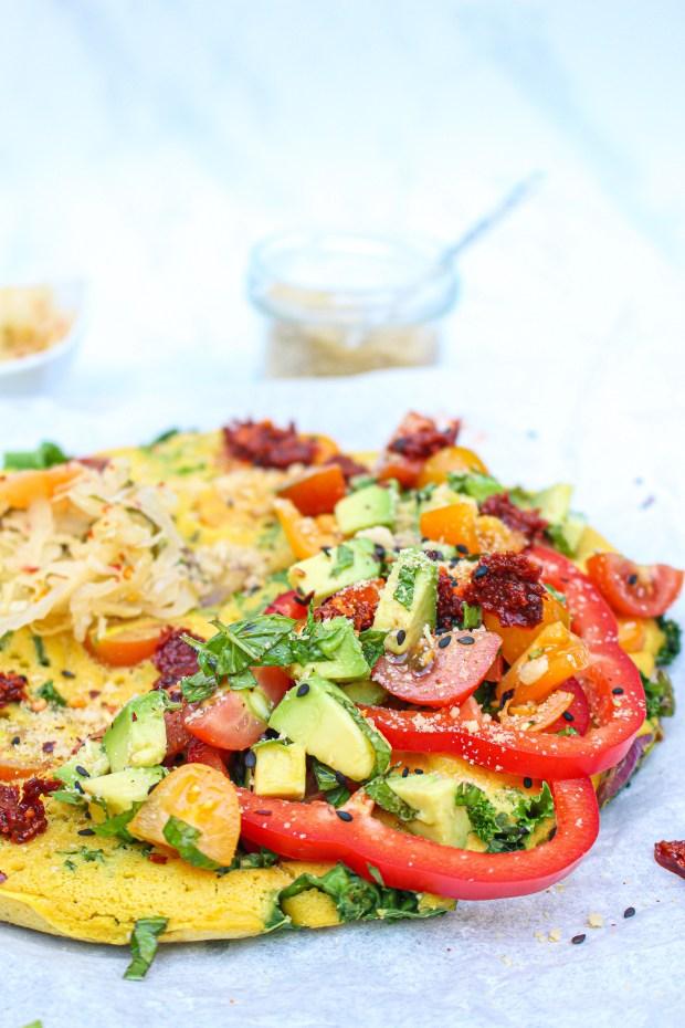 Kale and Mushroom Chickpea Omelette